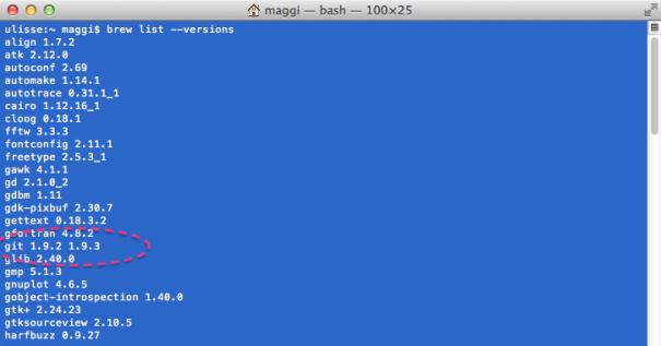 Figura 3. Elenco dei package installati con i relativi numeri di versione. In evidenza un package di cui sono presenti due versioni diverse.